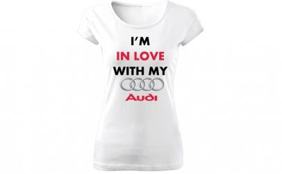 Tricou de dama ALB In love with Audi