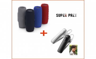 Boxa portabila + casca Bluetooth