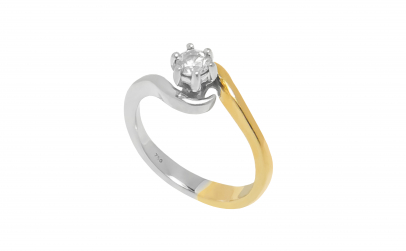 Inel de logodna din aur in 2 culori, 18K