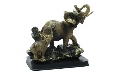 Statueta elefant cu pui 24 cm