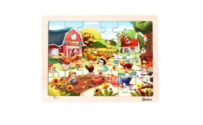Puzzle lemn Ferma Onshine + suport