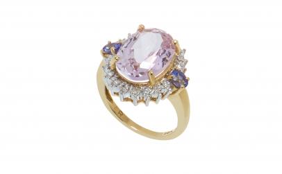 Inel aur 14K, kunzit, diamant, tanzanit