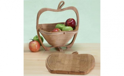 Cos pliabil din lemn, fructe si legume