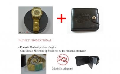 Portofel barbatesc + Ceas automatic Lux