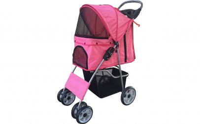 Carucior pentru animale de companie roz