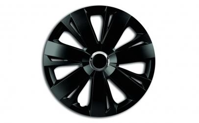Set capace roti 14` negre cu inel cromat
