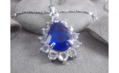 Colier pandantiv Blue -cristale zirconiu