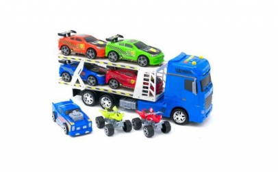 Set camion cu 5 masinute si 2 atv-uri