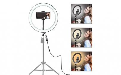 Lampa circulara cu suport selfie, putere