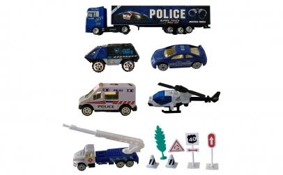 6 Vehicule Metalice Politie cu accesorii
