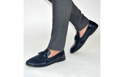 Pantofi barbati eleganti albastru lac