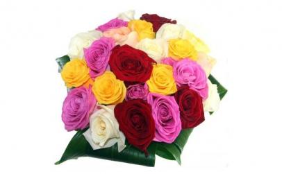 Buchet de 19 trandafiri multicolori
