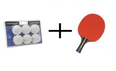 Set tenis de masa paleta + 6 mingi Dunlo
