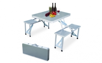 Masa din aluminiu pliabila - 4 scaune