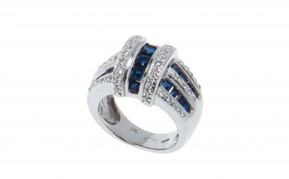 Inel aur alb 14 K, safire si diamante