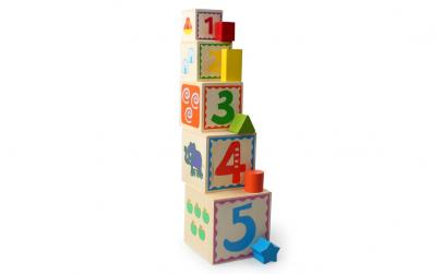 Turn Montessori lemn 5 Cuburi + Sortator