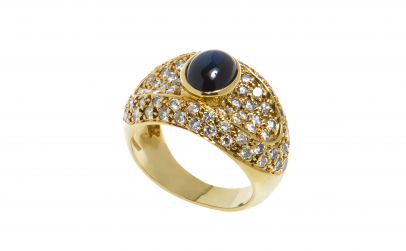Inel aur 18 K, safir si 78 diamante