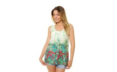 Bluza Dama fara Maneci cu Model Floral