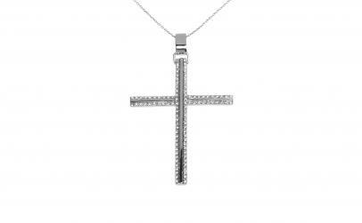Crucifix din aur alb 18K, cu diamante