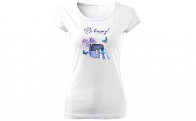 Tricou de dama ALB Be Happy COD TD052