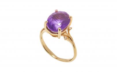 Inel din aur 14k cu ametist si diamante