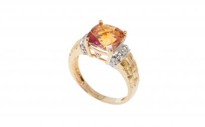 Inel aur 14K, topaz imperial si diamante