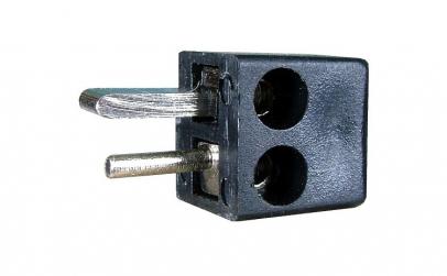 Conector boxe 2 pini, tata, pe cablu -