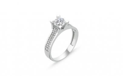 Inel argint Solitaire cu zirconii albe