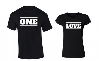 Tricou de cuplu negru ONE LOVE COD P016