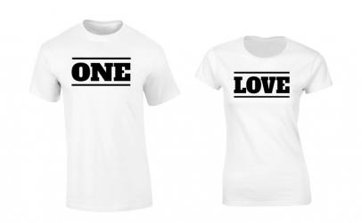 Tricou de cuplu alb ONE LOVE COD P017