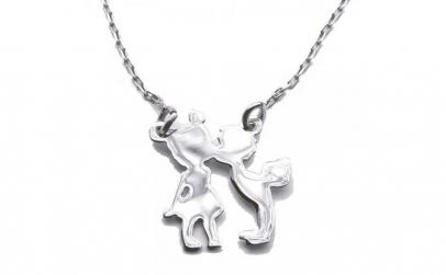 Colier argint 925 rodiat cu fetita si