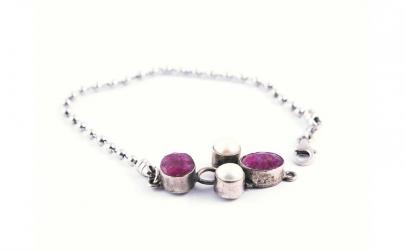 Bratara din Argint cu Rubin si Perle