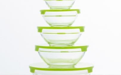 Set 5 boluri de sticla, cu capac