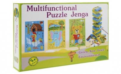 Joc cuburi lemn Jenga 2 in 1