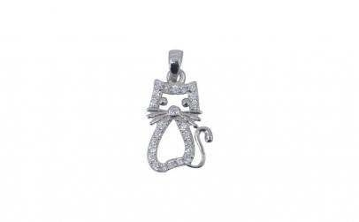 Pandantiv Argint 925 Pisica Pietre +