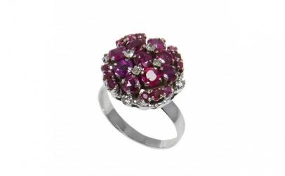 Inel din aur 14K, cu rubine si diamante