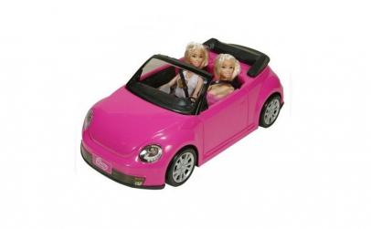 Masina decapotabila roz cu 2 papusi