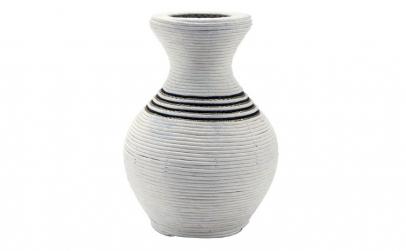 Vaza din Bambus si Material, Alb, 25 cm
