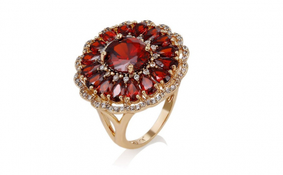 Inel Cocktail Glamour Red Garnet