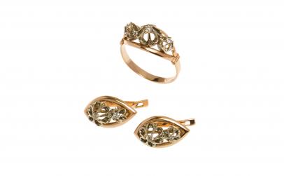 Set din aur galben 14K cu diamante