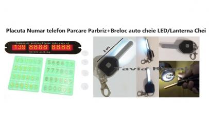 Set Placuta telefon Parbriz+Breloc LED
