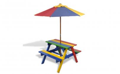 Masuta de picnic pentru copii cu umbrela
