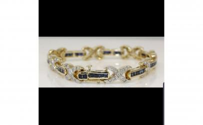 Bratara aur 14K cu Safire si Diamante
