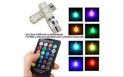 Set 2 becuri multicolor RGB T10