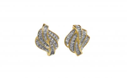 Cercei din aur galben, 14K, cu diamante