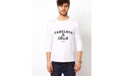 Bluza alba, barbati, Fabulous & Rich