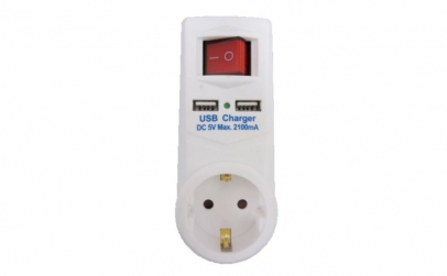 Adaptor priza, buton ON/OFF, 2 x USB