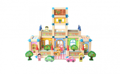 Joc constructie lemn Castelul, 128 piese
