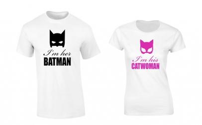 Set de tricouri albe Batman/Catwoman