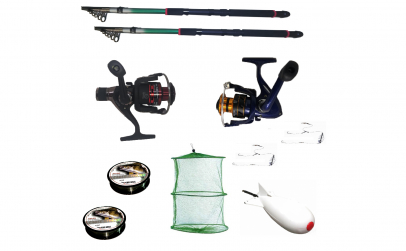 Pachet de pescuit sportiv cu 2 lansete